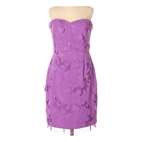 BCBGMaxAzria Dresses & Skirts - BcbgMaxAzria strapless purple lace dress
